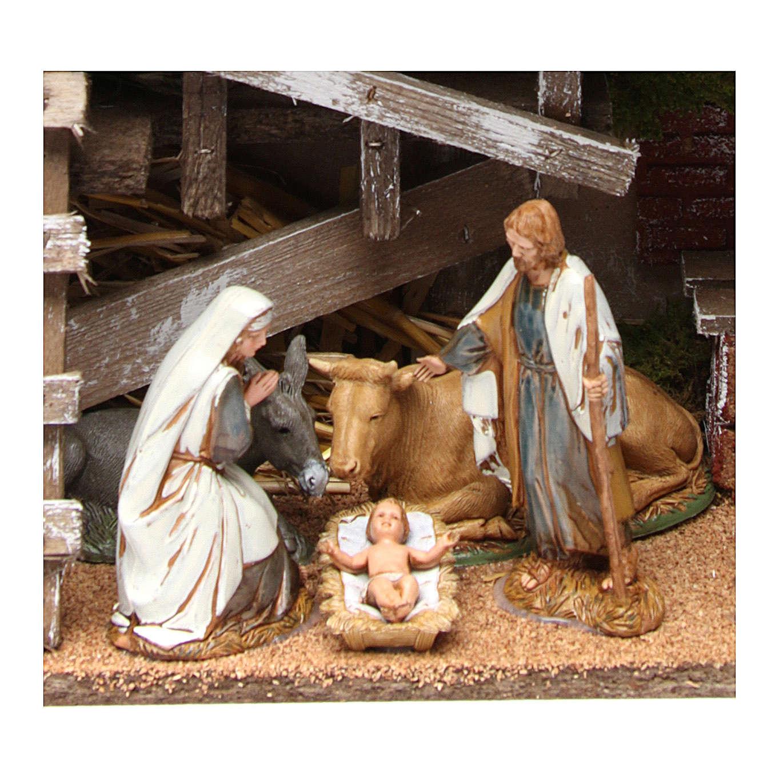 Cabane en bois avec Nativité et four 25x35x15 cm 4
