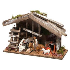 Cabane en bois avec Nativité et four 25x35x15 cm s3
