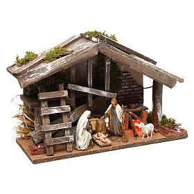 Cabane en bois avec Nativité et four 25x35x15 cm s4