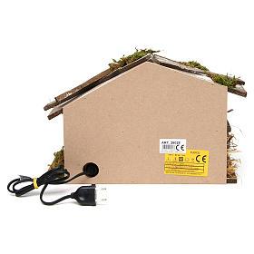 Cabane en bois avec Nativité et four 25x35x15 cm s5