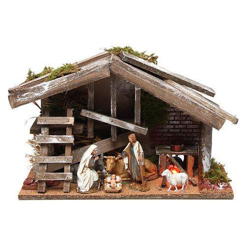 Cabane en bois avec Nativité et four 25x35x15 cm 1