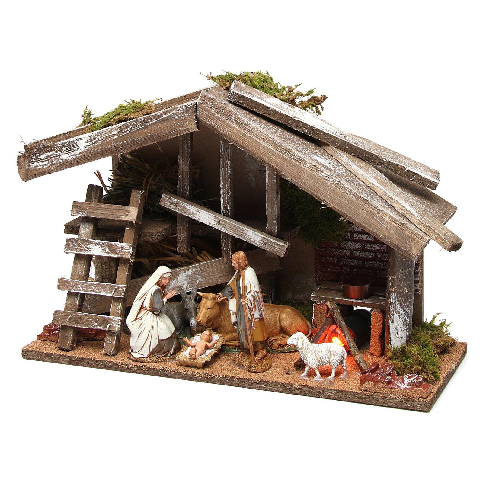 Capanna in legno con Natività e forno 25x35x15 cm 4
