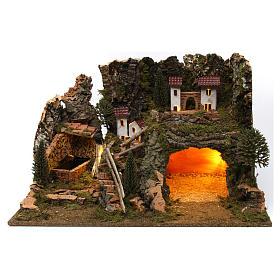 Ambientações para Presépio: lojas, casas, poços: Casinhas nas rochas 35x60x40 cm
