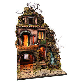 Cottage near the waterfall for Neapolitan nativity scene of 10-12-14 cm 75x50x40 cm s3