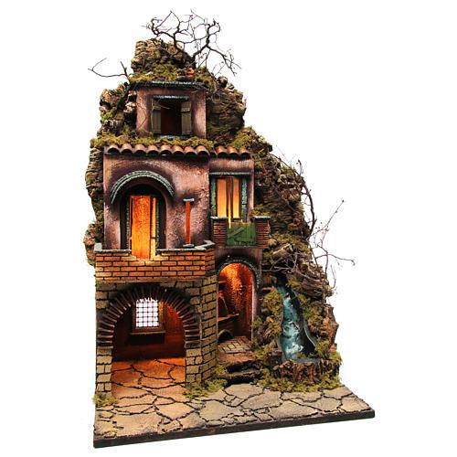 Cottage near the waterfall for Neapolitan nativity scene of 10-12-14 cm 75x50x40 cm 3