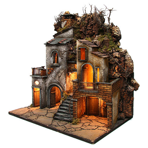 Hamlet with chimney and SMOKE EFFECT for Neapolitan Nativity Scene 8-10-12 cm 65x60x40 cm 3