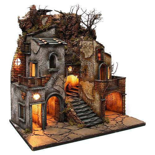 Hamlet with chimney and SMOKE EFFECT for Neapolitan Nativity Scene 8-10-12 cm 65x60x40 cm 4