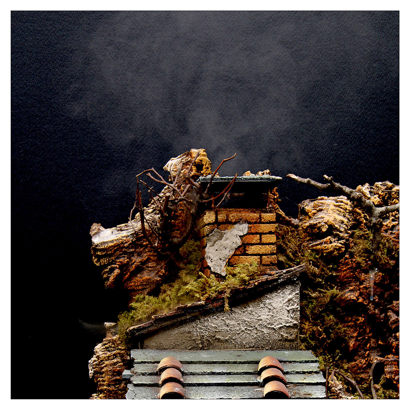 Aldea con chimenea EFECTO FUMO para belén Nápoles de 8-10-12 cm de altura media 65x60x40 cm 4