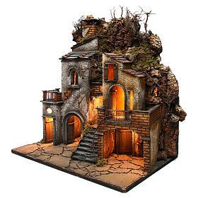 Village avec cheminée EFFET FUMÉE pour crèche Naples de 8-10-12 cm 65x60x40 cm s3
