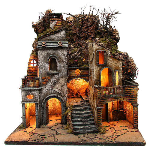 Village avec cheminée EFFET FUMÉE pour crèche Naples de 8-10-12 cm 65x60x40 cm 1
