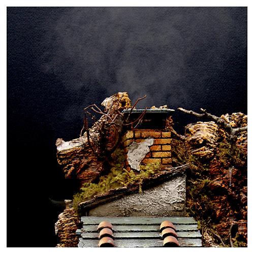 Village avec cheminée EFFET FUMÉE pour crèche Naples de 8-10-12 cm 65x60x40 cm 2