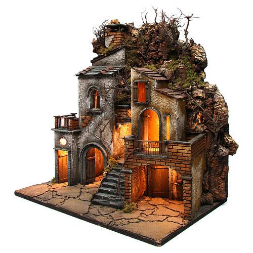 Village avec cheminée EFFET FUMÉE pour crèche Naples de 8-10-12 cm 65x60x40 cm 3