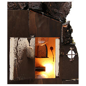 Borgo con comignolo EFFETTO FUMO per presepe Napoli di 8-10-12 cm  65x60x40 cm s5