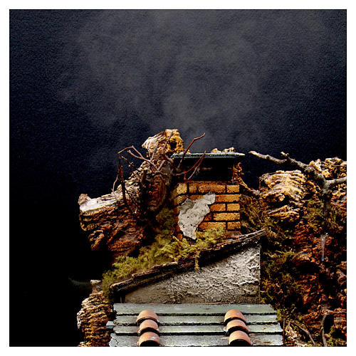 Village with Chimney stack SMOKE EFFECT for Nativity from Naples of 8-10-12 cm 65x60x40 cm 2