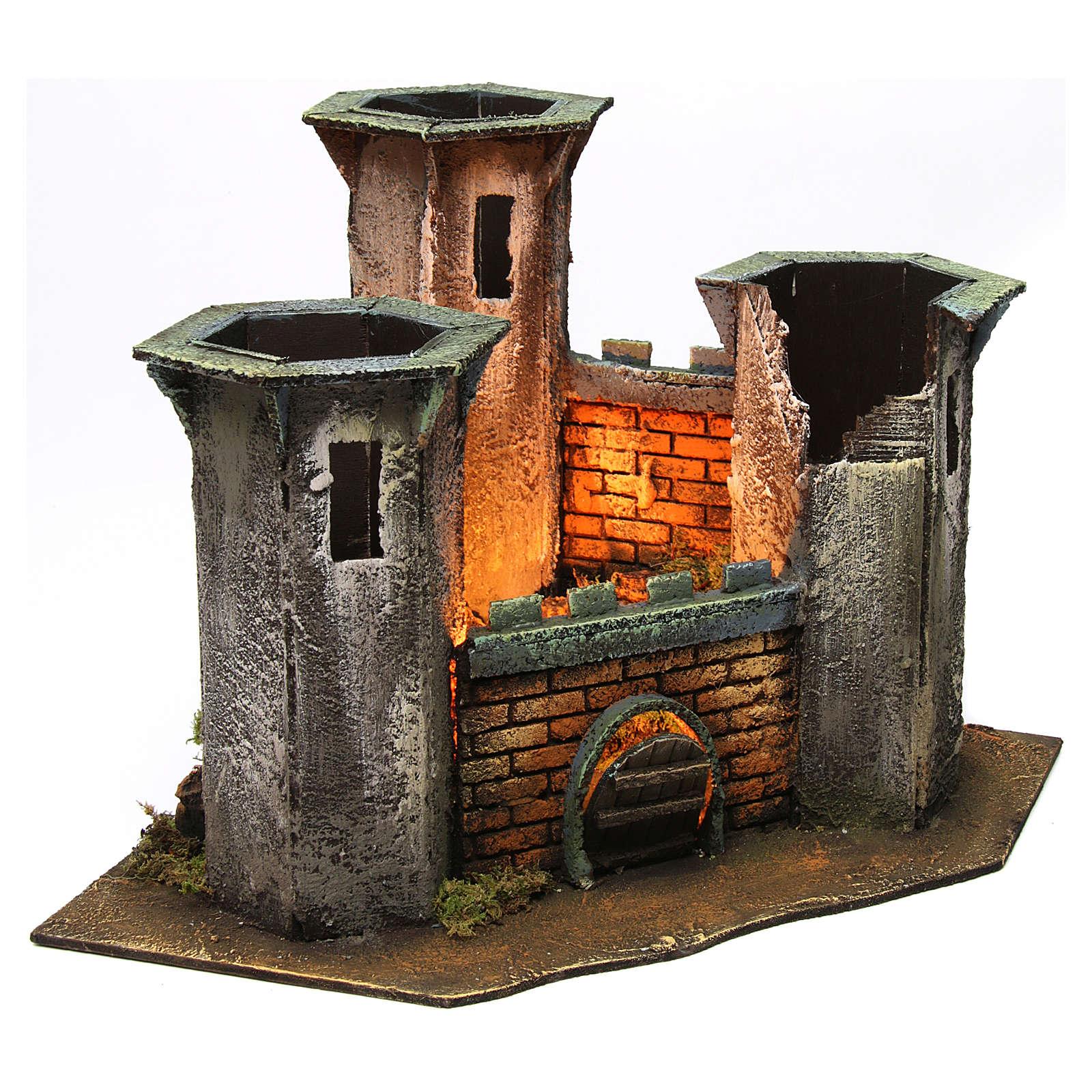 Castillo tres torres ruina con luz para belén de 6 cm de altura media 25x30x30 cm 4