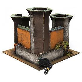 Castillo tres torres ruina con luz para belén de 6 cm de altura media 25x30x30 cm s4