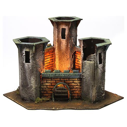Château trois tours ruine avec lumière pour crèche de 6 cm 25x30x30 cm 1