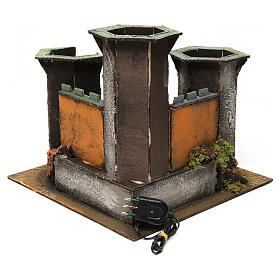 Three Tower Castle ruin with light for 6 cm Nativity 25x30x30 cm s4