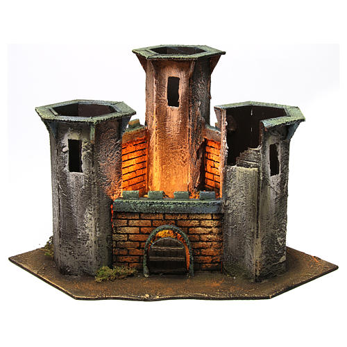 Three Tower Castle ruin with light for 6 cm Nativity 25x30x30 cm 1