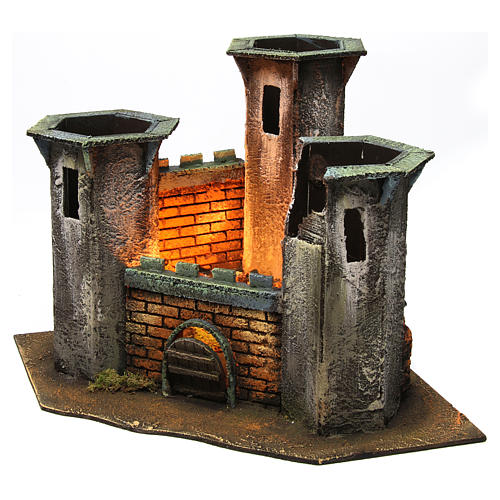 Three Tower Castle ruin with light for 6 cm Nativity 25x30x30 cm 2