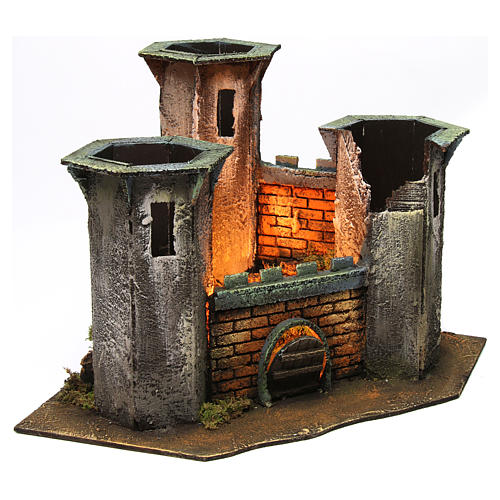 Three Tower Castle ruin with light for 6 cm Nativity 25x30x30 cm 3