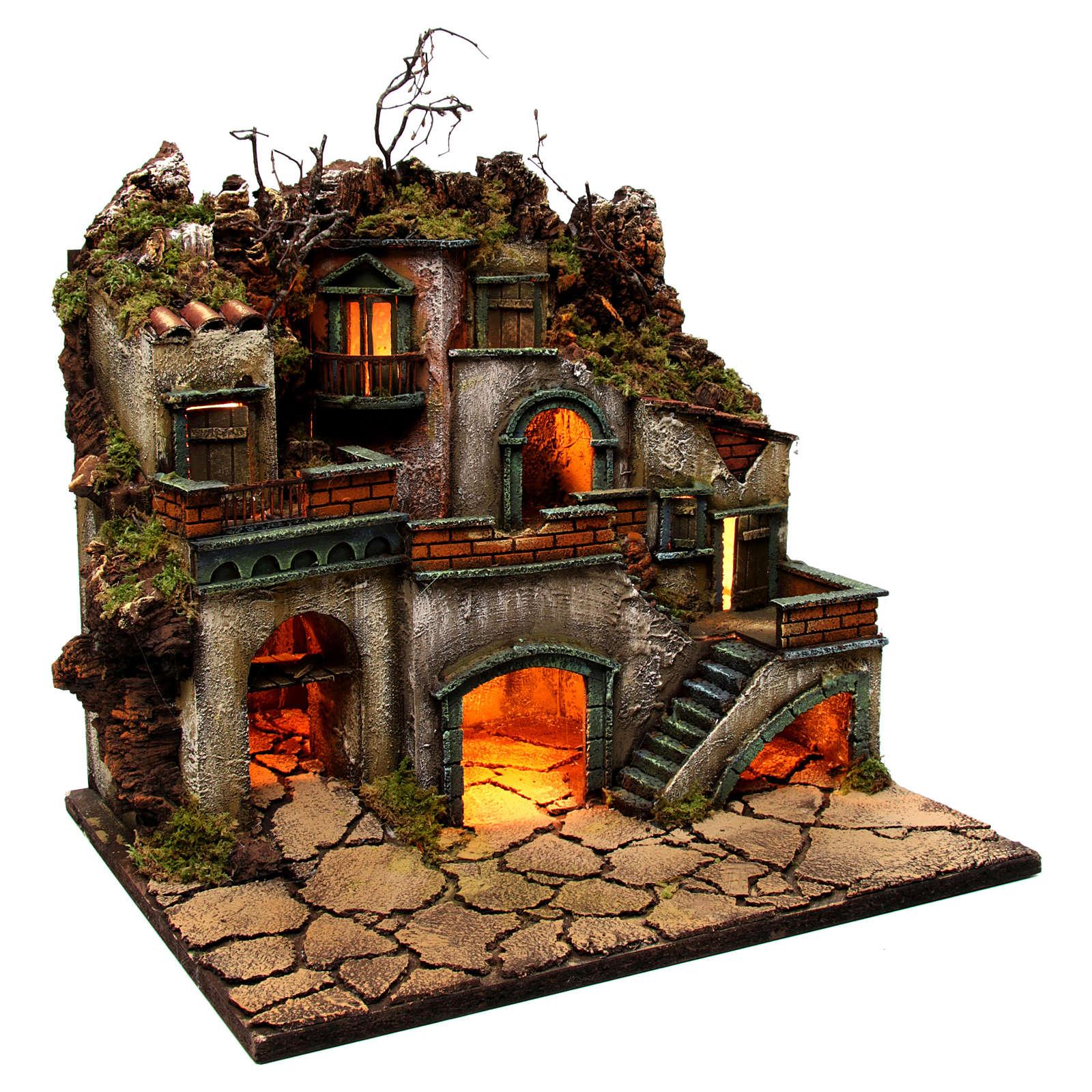 Borgo con luce per presepe napoletano di 6-8 cm 45x50x40 cm 4