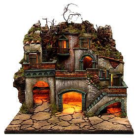 Borgo con luce per presepe napoletano di 6-8 cm 45x50x40 cm s1