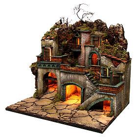 Borgo con luce per presepe napoletano di 6-8 cm 45x50x40 cm s2