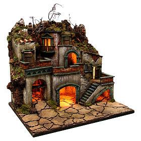Borgo con luce per presepe napoletano di 6-8 cm 45x50x40 cm s3
