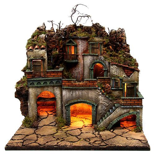 Borgo con luce per presepe napoletano di 6-8 cm 45x50x40 cm 1