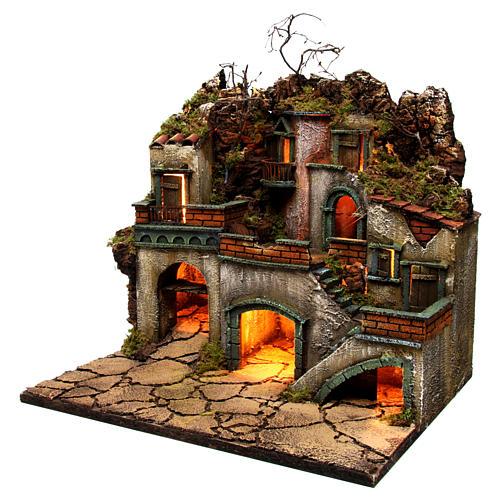 Borgo con luce per presepe napoletano di 6-8 cm 45x50x40 cm 2