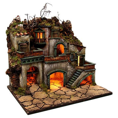 Borgo con luce per presepe napoletano di 6-8 cm 45x50x40 cm 3