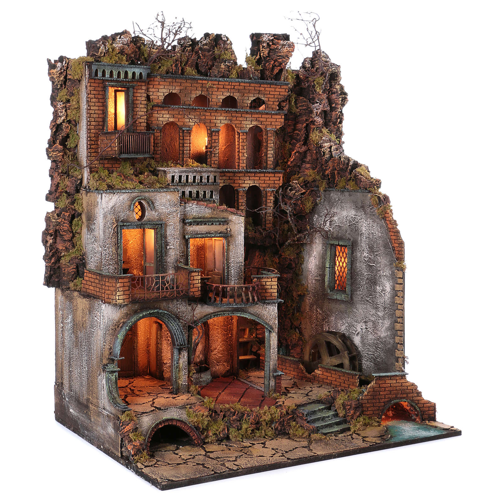 Town with Water Mill nativity from Naples of 10-12-14 cm 100x80x60 cm 4