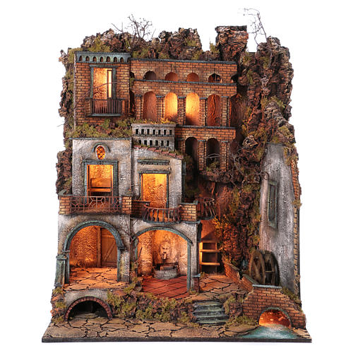 Town with Water Mill nativity from Naples of 10-12-14 cm 100x80x60 cm 1