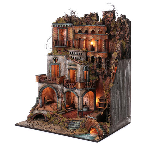 Town with Water Mill nativity from Naples of 10-12-14 cm 100x80x60 cm 2