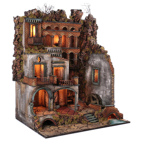 Town with Water Mill nativity from Naples of 10-12-14 cm 100x80x60 cm 3