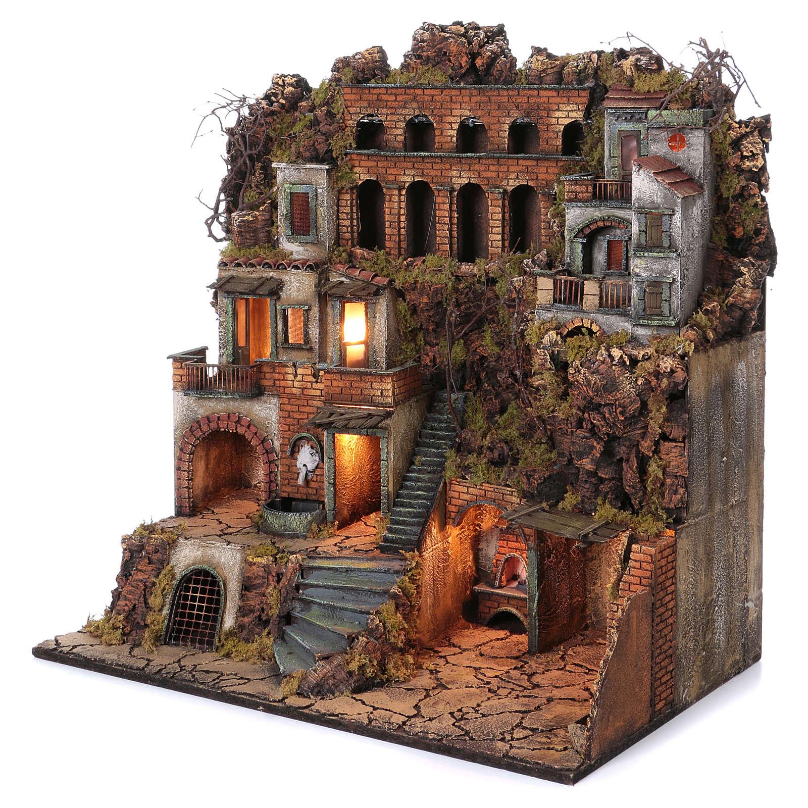 Cottage avec fontaine et four crèche de Naples de 10-12-14 cm 80x80x50 cm 4