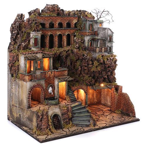 Cottage avec fontaine et four crèche de Naples de 10-12-14 cm 80x80x50 cm 3