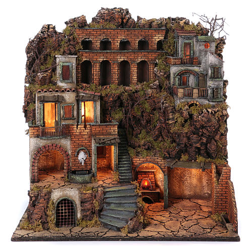 Cottages with Standpipe and Oven for Neapolitan nativity of 10-12-14 cm 80x80x50 cm 1