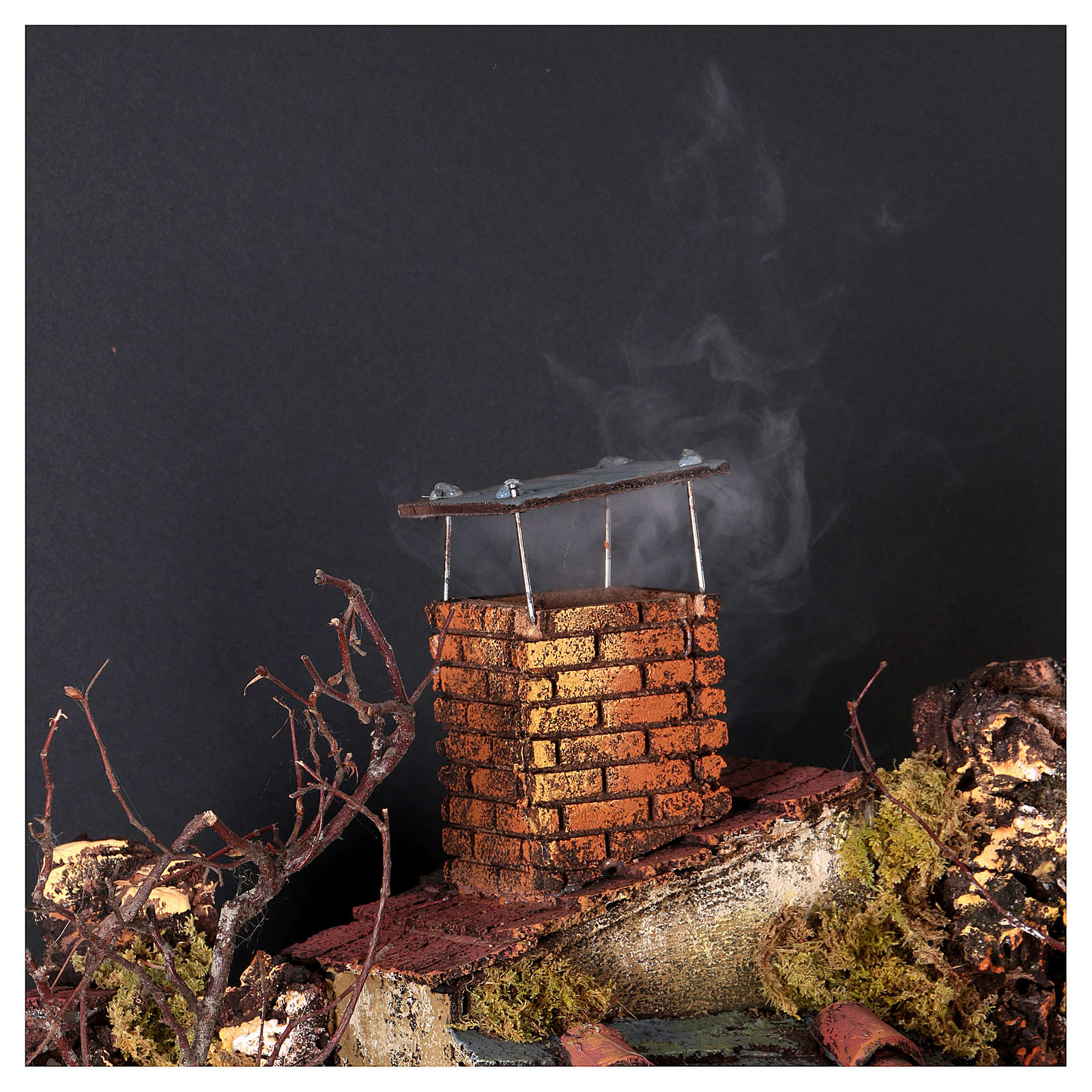 Caserío con chimenea y EFECTO FUMO belén de 10-12-14 cm de altura media de Nápoles 120x80x60 cm 4