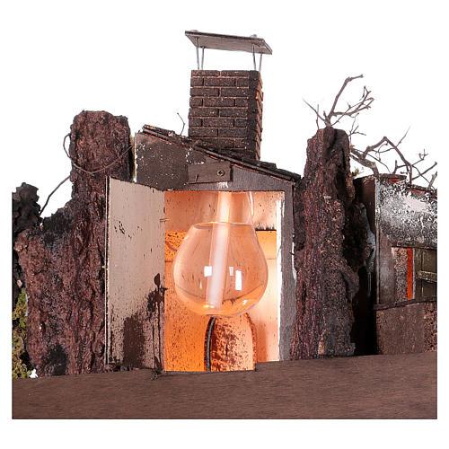 Caserío con chimenea y EFECTO FUMO belén de 10-12-14 cm de altura media de Nápoles 120x80x60 cm 5