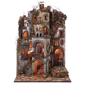 Cottage avec cheminée et EFFET FUMÉE crèche de Naples de 10-12-14 cm 120x80x60 cm s1
