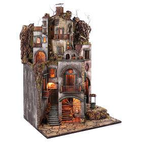 Cottage avec cheminée et EFFET FUMÉE crèche de Naples de 10-12-14 cm 120x80x60 cm s4