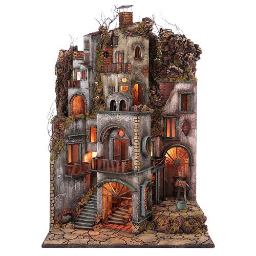 Cottage avec cheminée et EFFET FUMÉE crèche de Naples de 10-12-14 cm 120x80x60 cm 1