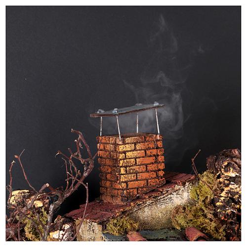 Cottage avec cheminée et EFFET FUMÉE crèche de Naples de 10-12-14 cm 120x80x60 cm 2