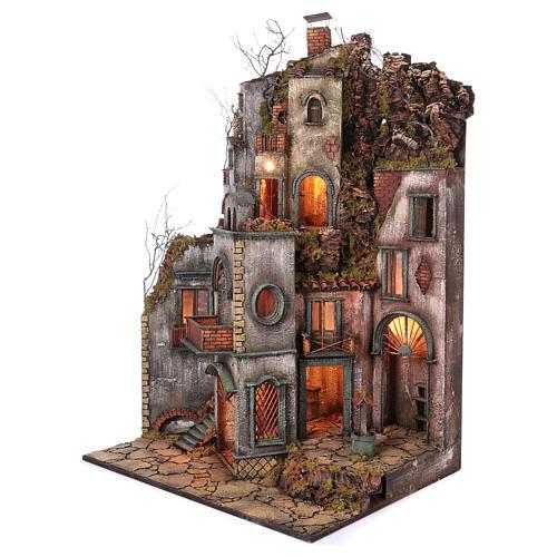 Cottage avec cheminée et EFFET FUMÉE crèche de Naples de 10-12-14 cm 120x80x60 cm 3