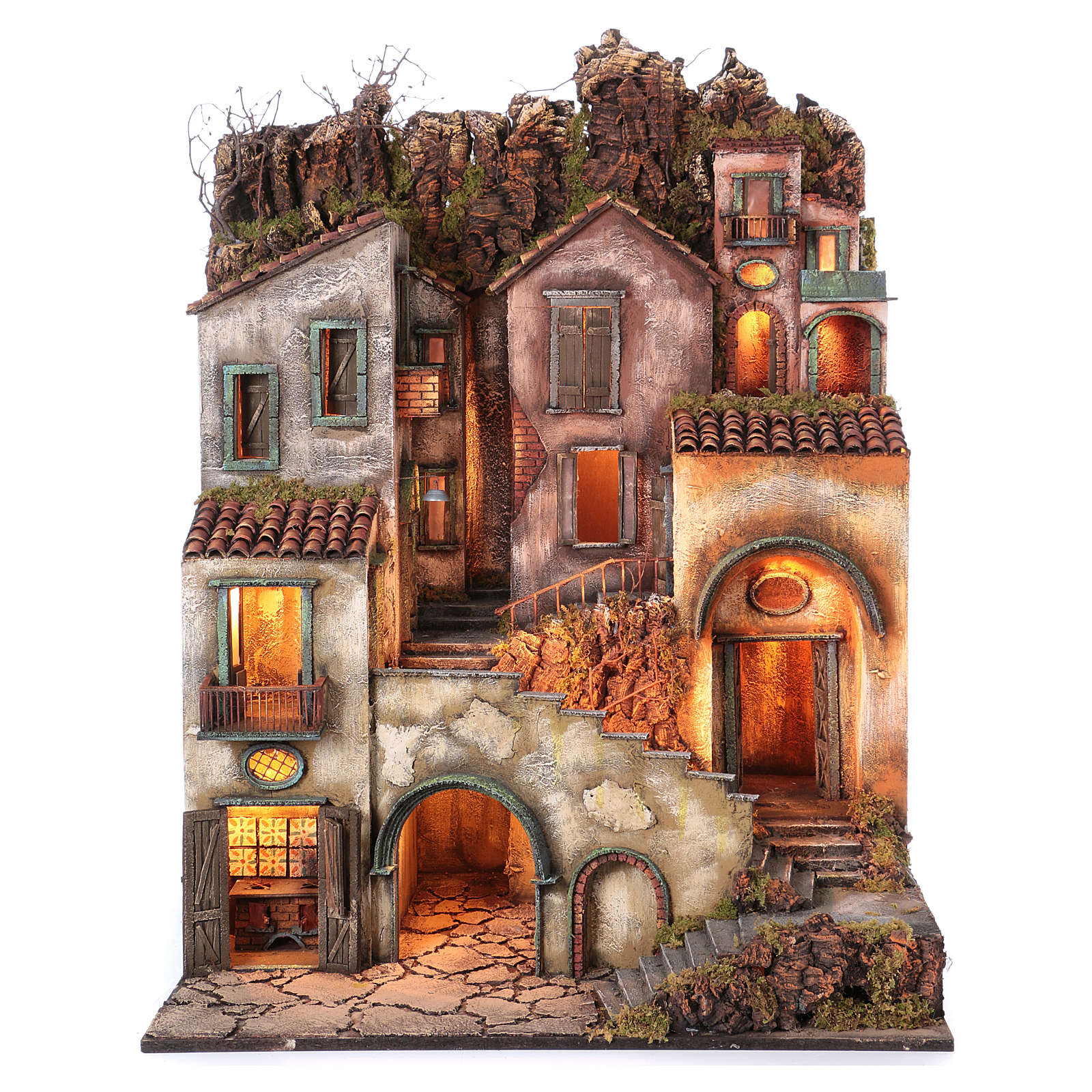 Rustic Town for nativity of 10-12-14 cm from Naples 110x80x60 cm 4