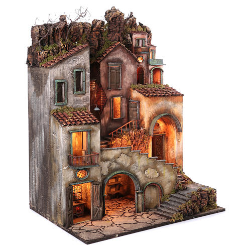 Rustic Town for nativity of 10-12-14 cm from Naples 110x80x60 cm 3