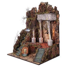 Ambientazione per presepe Napoli di 10-12-14 cm cascata e EFFETTO NEBBIA 105x80x60 cm s2