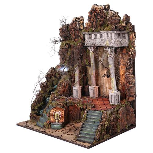 Ambientazione per presepe Napoli di 10-12-14 cm cascata e EFFETTO NEBBIA 105x80x60 cm 2